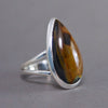 Golden Pietersite Teardrop Classic Sterling Silver Ring SS-023