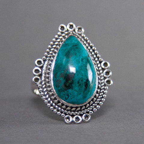 Shattuckite Teardrop Ornate Sterling Silver Ring US 8.5 SS-024