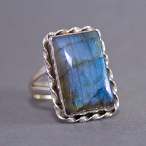 Labradorite Rectangle Twister Sterling Silver Ring US 9 SS-025