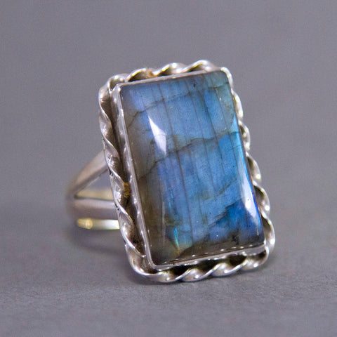 Labradorite Rectangle Twister Sterling Silver Ring SS-025