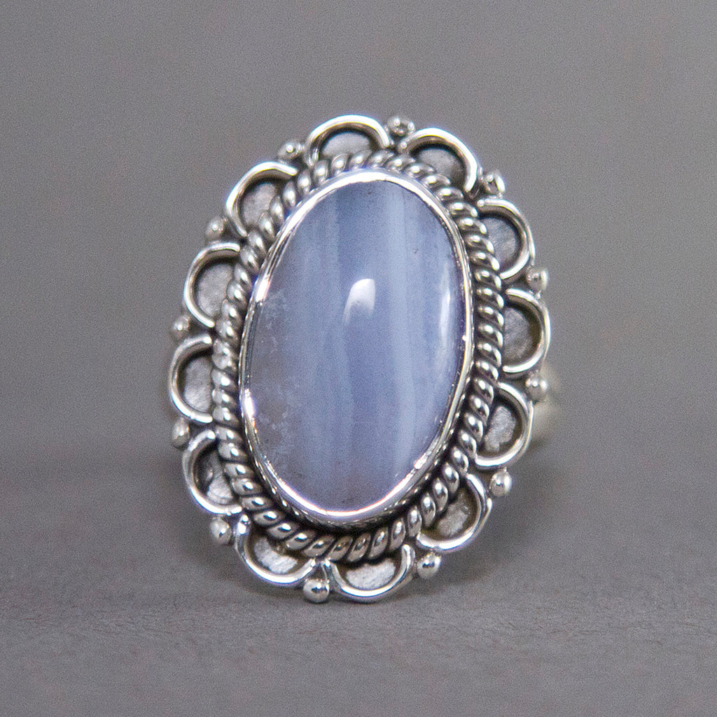 Blue Lace Agate Oval Blossom Sterling Silver Ring US 7.5 SS-026