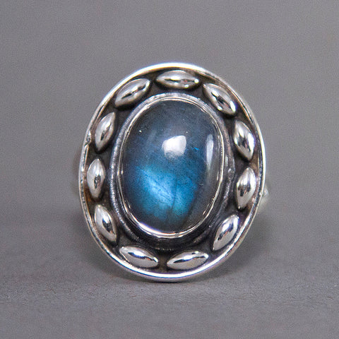 Labradorite Oval Dewdrop Sterling Silver Ring US 8 SS-027