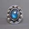 Labradorite Oval Dewdrop Sterling Silver Ring SS-027