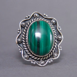 Malachite Oval Vigne Sterling Silver Ring US 7 SS-029