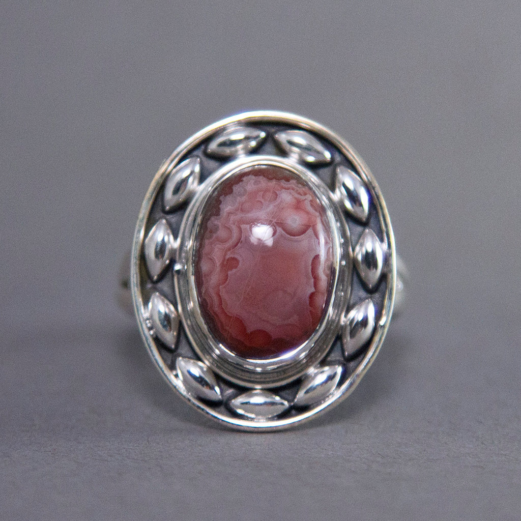 Crazy Lace Agate Oval Dewdrop Sterling Silver Ring SS-030