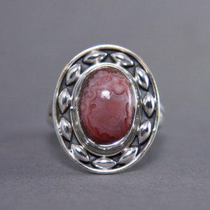 Crazy Lace Agate Oval Dewdrop Sterling Silver Ring US 9 SS-030