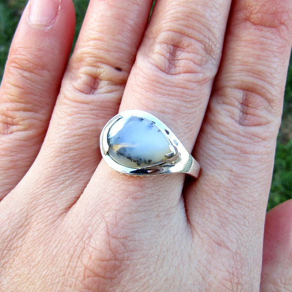 Dendritic Opal Teardrop Unique Sterling Silver Ring US 9 SS-051