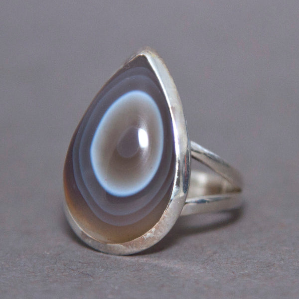 Botswana Agate Teardrop Classic Sterling Silver Ring US 7 SS-052