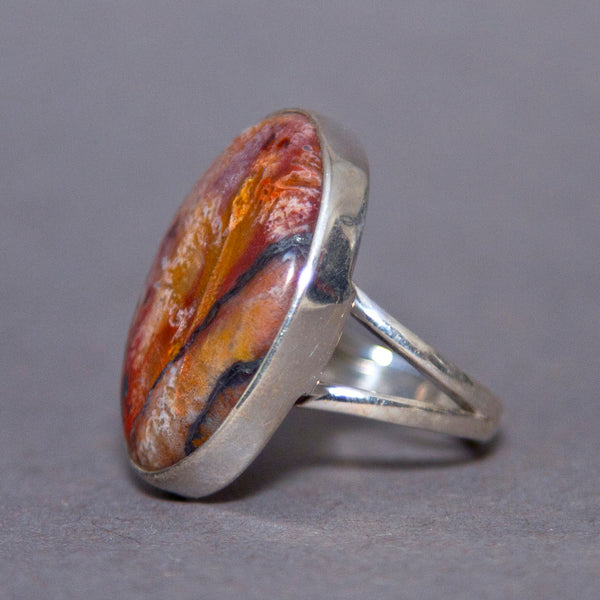 Crazy Lace Agate Large Oval Classic Sterling Silver Ring US 8 SS-053