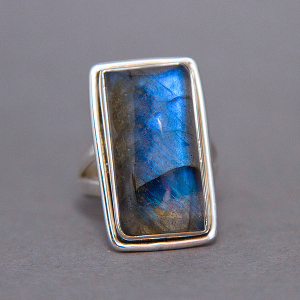 Labradorite Rectangle Classic Sterling Silver Ring US 7.5 SS-055