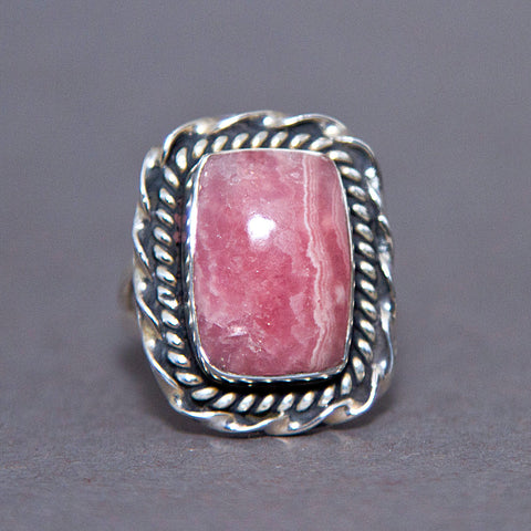 Rhodochrosite Rectangle Entwine Sterling Silver Ring US 5.5 SS-056