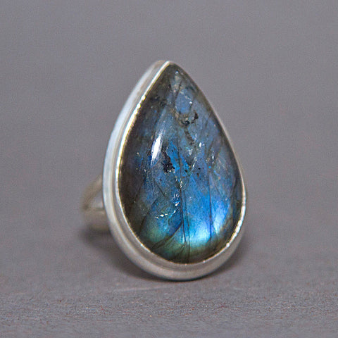 Labradorite Large Teardrop Classic Sterling Silver Ring US 8 SS-057