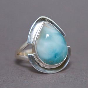 Larimar Teardrop Rift Sterling Silver Ring US 9 SS-058