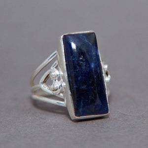 Sodalite Rectangle Intricate Sterling Silver Ring US 7.5 SS-059