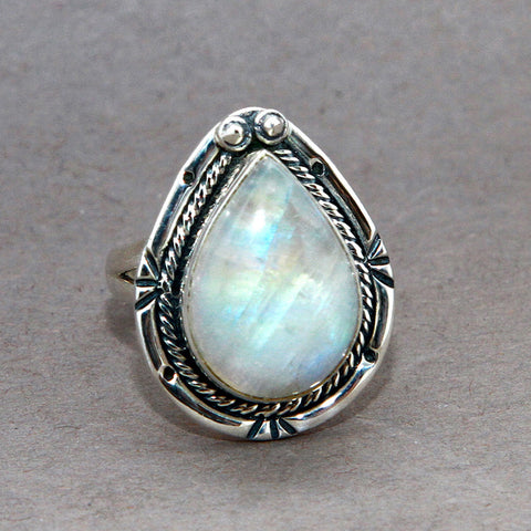 Rainbow Moonstone Teardrop Starburst Sterling Silver Ring US 8 SS-061