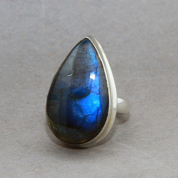 Labradorite Large Teardrop Classic Sterling Silver Ring US 6 SS-062