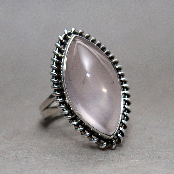 Rose Quartz Marquise Entwine Sterling Silver Ring US 7 SS-063