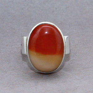 Mookaite Jasper Oval Classic Sterling Silver Ring US 7.5 SS-066