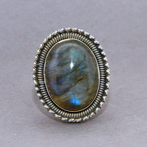 Labradorite Large Oval Baroque Sterling Silver Ring US 7 SS-067