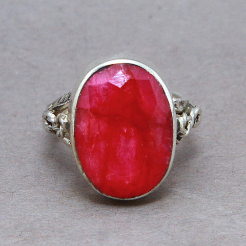 Ruby Oval Infinity Sterling Silver Ring US 6 SS-068