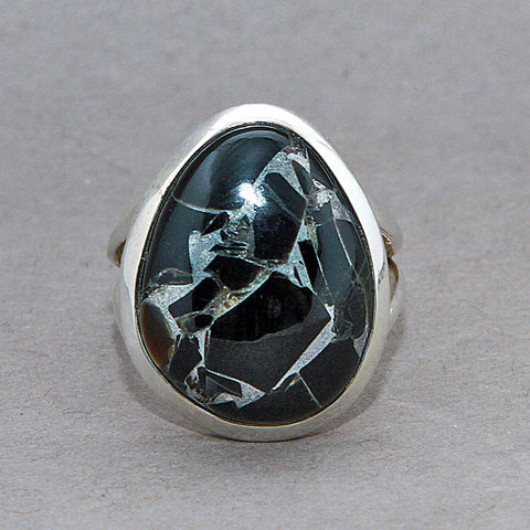 Black Copper Onyx Classic Sterling Silver Ring US 7.5 SS-069