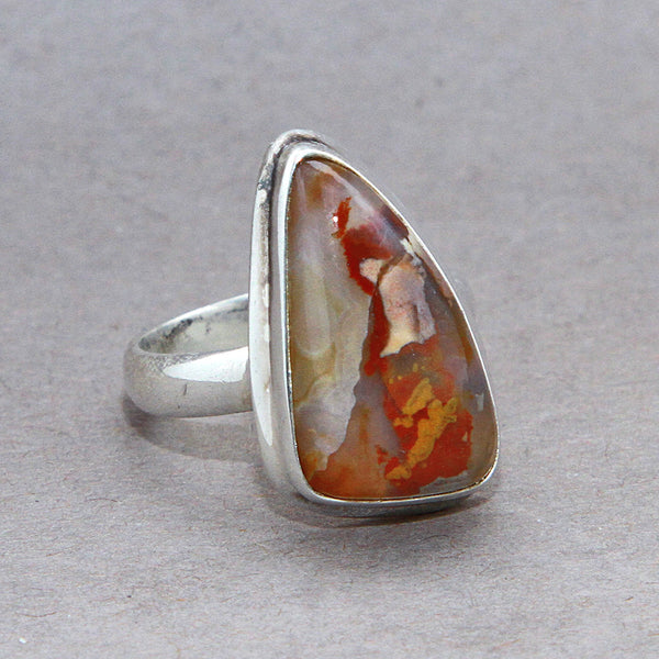 Ocean Jasper Freeform Classic Sterling Silver Ring US 9 SS-070