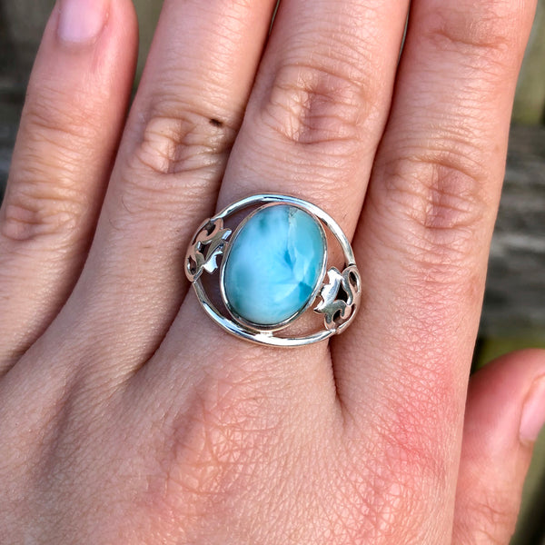 Larimar Oval Om Sterling Silver Ring US 9.5 SS-071