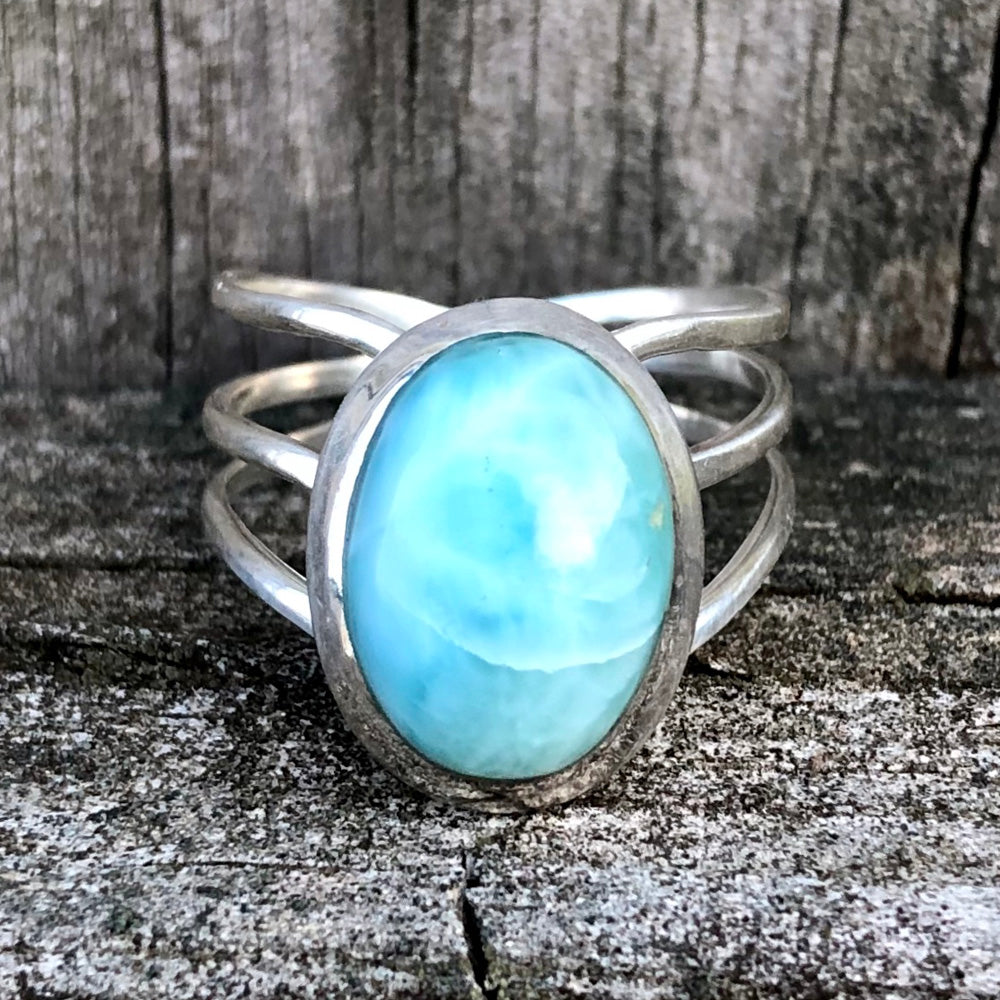 Larimar Oval Diadem Sterling Silver Ring US 9 SS-072