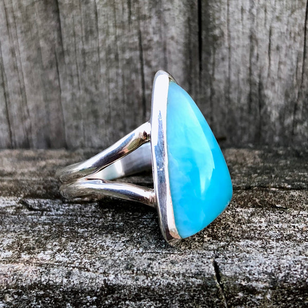Larimar Triangular Classic Sterling Silver Ring US 7.5 SS-073