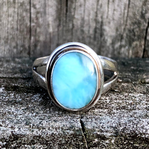 Larimar Oval Classic Sterling Silver Ring US 7 SS-074