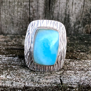 Larimar Rectangular Waves Sterling Silver Ring US 6 SS-075