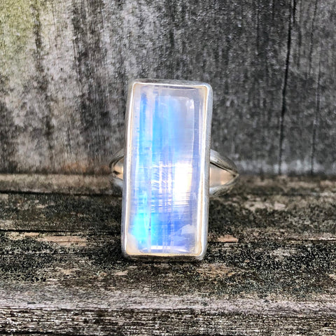 Rainbow Moonstone Rectangular Classic Sterling Silver Ring US 7 SS-076