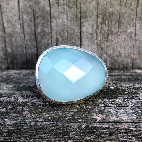 Aquamarine Checkerboard Egg Sterling Silver Ring US 7 SS-081