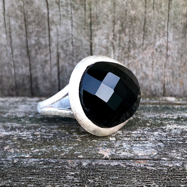 Black Onyx Checkerboard Egg Sterling Silver Ring US 6.5 SS-083