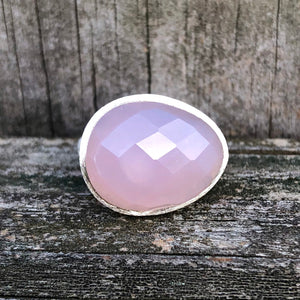 Rose Quartz Checkerboard Egg Sterling Silver Ring US 7.5 SS-084