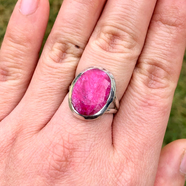 Ruby Rosecut Oval Sterling Silver Ring US 7 SS-090