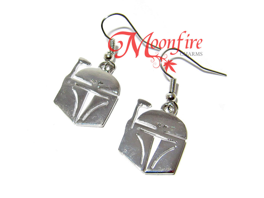STAR WARS Boba Fett Silver Helmet Earrings