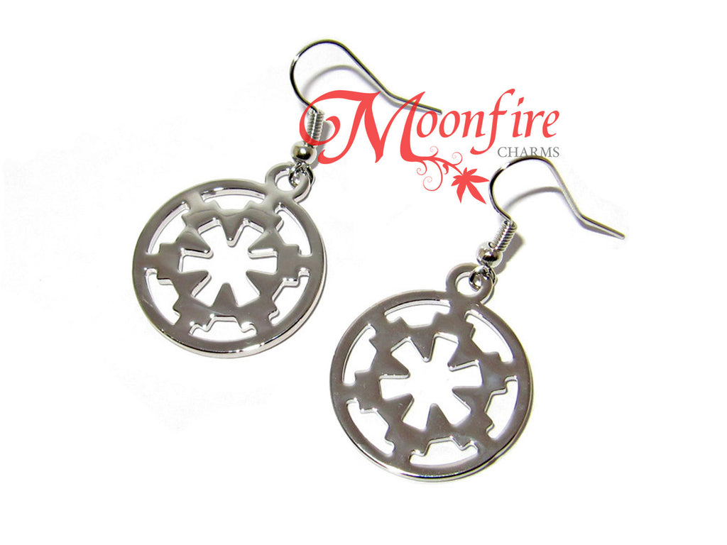 STAR WARS Galactic Empire Silver Imperial Crest Earrings