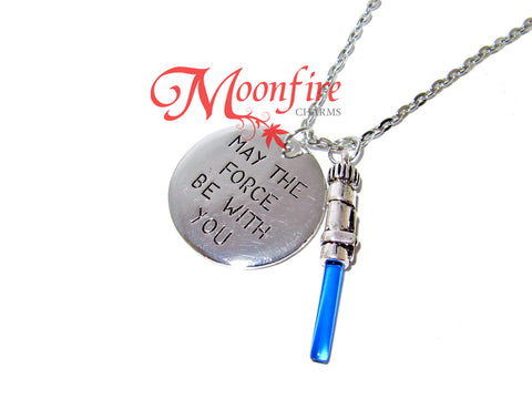 STAR WARS May The Force Be With You Blue Lightsaber Pendant Necklace