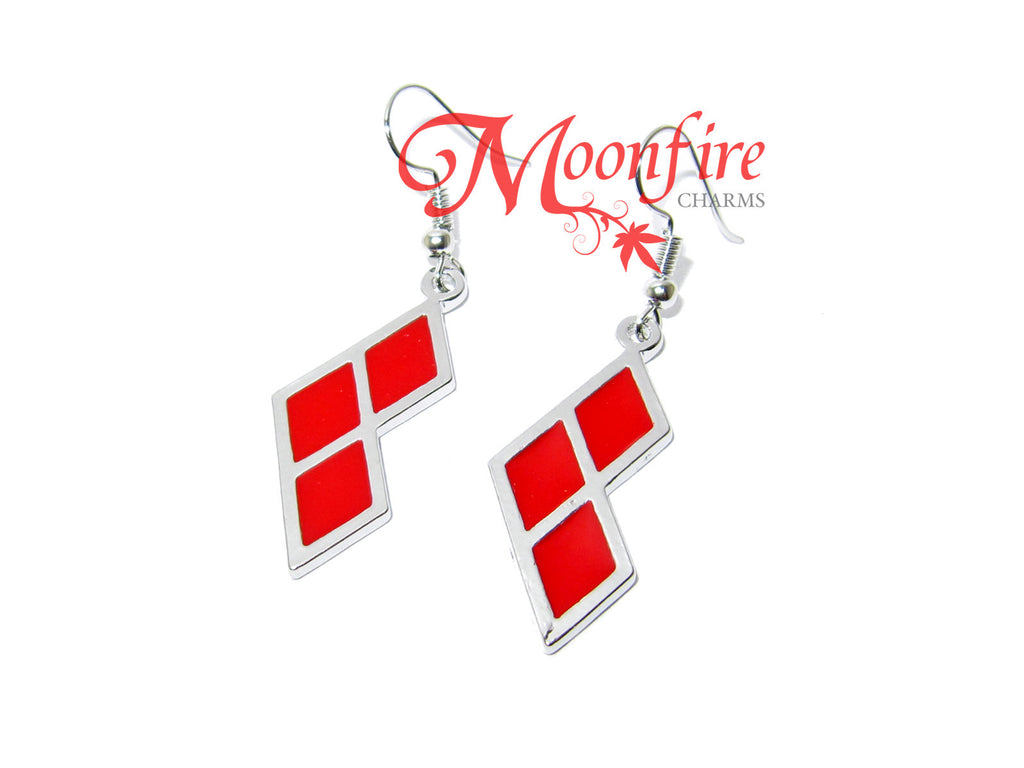 SUICIDE TEAM Harley Queen Red Diamond Logo Earrings