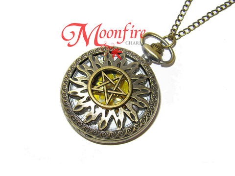 SUPERNATURAL Ornate Anti-Possession Symbol Pocket Watch Necklace