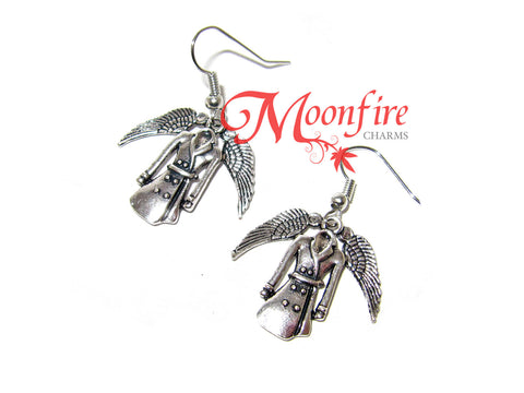SUPERNATURAL Castiel's Trench Coat and Wings Earrings