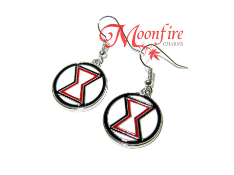 THE AVENGERS Black Widow Logo Earrings