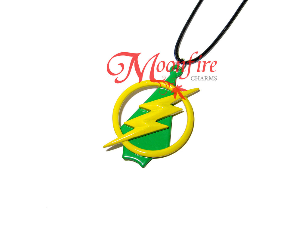 Yellow Lightning Bolt and Green Arrowhead Pendant Necklace