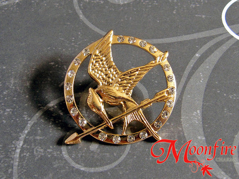 THE HUNGER GAMES Mockingjay Diamond CZ Pin Badge