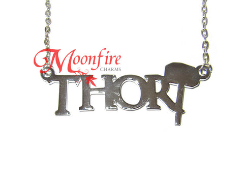 THE AVENGERS Thor Name and Hammer Pendant Necklace