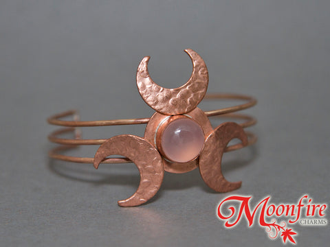 Triple Crescent Moon Pink Chalcedony Copper Cuff Bracelet