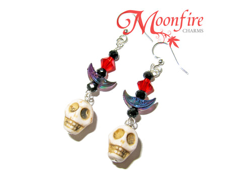 COCO White Skull and Crescent Moon Earrings