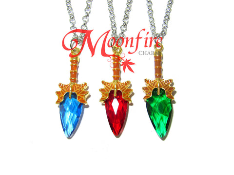 WORLD OF WARCRAFT Crystal Short Sword Pendant Necklace