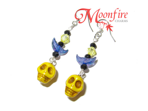 COCO Yellow Skull and Crescent Moon Earrings